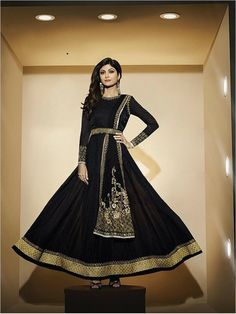Black Partywear Georgette Suit