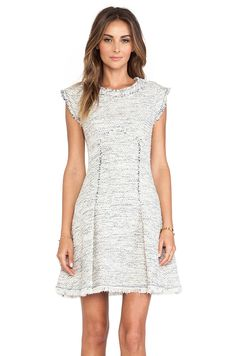 Rebecca Taylor Short Sleeve Tweed Dress in Navy Combo | REVOLVE