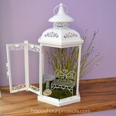 SUCH A BEAUTIFUL Unique Idea! I've been amazed at the low sale prices I have seen lately on these lanterns! Here's a new twist on the fairy garden theme -- a mini guesthouse!