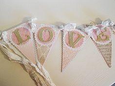 "shabby chic banners | Valentines ""LOVE"" Shabby Chic Banner | Valentine's Day"