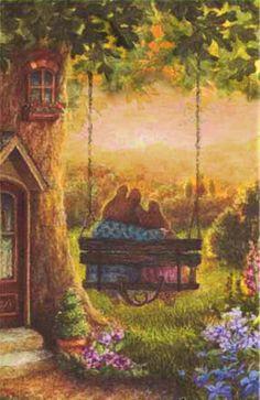 Beertjes in de avondzon - Susan Wheeler - Susan Wheeler, Art And Illustration, Bunny Painting, Bunny Art, Woodland Creatures, Beatrix Potter, Whimsical Art, Pretty Pictures, Vintage Art
