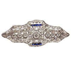Art Deco Sapphire 3.5 Carat Diamond Platinum Brooch Pin 1