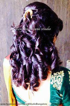 Indian would-be bride's engagement hairstyle options. Hair by Swank Studio. Bridal hair. Curls. Saree Blouse Design. Hair Accessories. Tamil bride. Telugu bride. Kannada bride. Hindu bride. Malayalee bride. Find us at https://www.facebook.com/SwankStudioBangalore