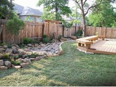 Cool back yard idea. A way to transform the river bed area in our yard