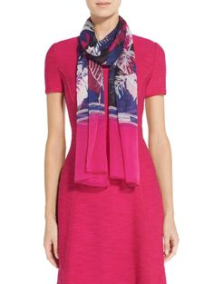 Informed by a colorful rainforest print, St. John's Rainforest Floral Print Silk Georgette Scarf adds a stylish dimension to any ensemble. Floral Fashion, Classic Style, Floral Prints, Silk, Stylish, Color, Clothes, Outfits, Flower Prints