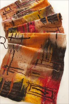 Felted shawl - Brown Orange Yellow Autumn by Ryan Sargsyan Wet Felting Projects, Felting Tutorials, Nuno Felting, Needle Felting, Nuno Felt Scarf, Felted Scarf, Felt Pillow, Fibre And Fabric, Felt Hearts