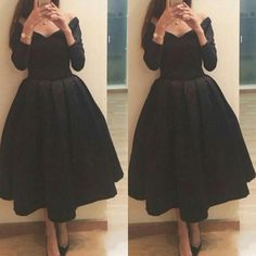 Tea Length Cocktail Dresses 2015 Off Shoulder Ball Gown Black Evening Gowns Elegant Long Sleeves Girls' Party Dress Tea Length Prom Dress from Sexypromdress,$107.86 | DHgate.com