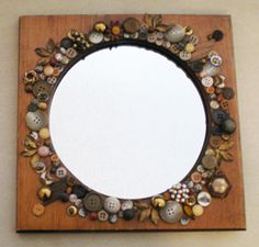 Button-embellished mirror.