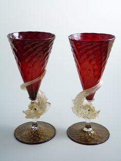 SALVIATI Art Glass Murano Italian - A Pair of DOLPHIN Large GOBLETS