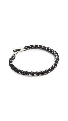 Miansai Nexus Sterling Silver Chain Bracelet In Solid Black Dkny Mens, Silver Buttons, Solid Black, Sterling Silver Chains, Mens Fashion, Bracelets, Jewelry, Moda Masculina, Man Fashion