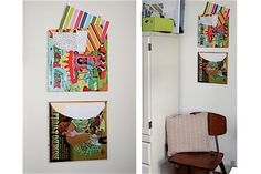 use old album covers as storage/filing system. the really cool, colorful ones would look cute on the wall!