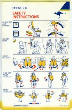 Australian Airlines Boeing 737 Safety Card