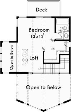 Upper Floor Plan for 9932 A-Frame House Plan, Master on the Main, Loft, 2 Bedroom