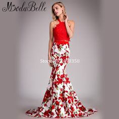 Stunning!!!! Rose Red Floral Prom Dress