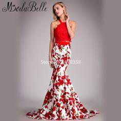 Rose Red Floral Prom Dress Halter Prom Dresses Long 43914b0cc89b