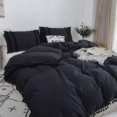 Boho Comforters, King Size Comforters, Boho Bedding, Duvet Bedding, Black Bedding, Cotton Bedding, Black Comforter Sets, Cotton Fabric, Boho Duvet Cover