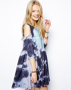 ASOS Smock Dress In Tie Dye With Cold Shoulder