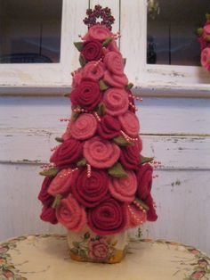 Pink Shabby Chic Christmas Tree Felted by vintageroseboutique1, $45.00