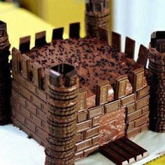 Easy Chocolate castle, chocolate bar tiles, cookie towers
