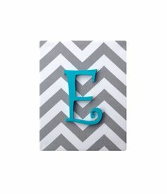 Upholstered Wood Letter Name / Gray White Chevron / Baby Girl Aqua Teal Nursery Decor / Premier Prints Canvas Twill Storm by SSKDesigns on Etsy https://www.etsy.com/listing/186522644/upholstered-wood-letter-name-gray-white