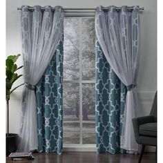 Exclusive Home Curtains Carmela Layered Geometric Blackout and Sheer Window Curtain Panel Pair with Grommet Top, Natural, 2 Piece Home Curtains, Curtains Living, Grommet Curtains, Blackout Curtains, Window Curtains, Modern Curtains, Sheer Curtains, Fringe Curtains, Gypsy Curtains