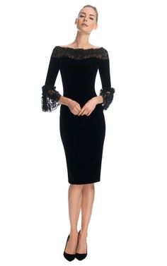 Velvet Cocktail Dress with Three-Quarter Frill Sleeves by Marchesa for Preorder on Moda Operandi $3295