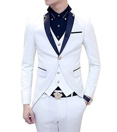 54b0dd49a647 MOGU Mens Tail Tuxedo 3 Piece Suit US Size 38 White MOGU Western Suits, 3