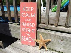 Beach Sign Keep Calm Coastal Nautical Nursery by justbeachyshop