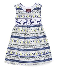 Another great find on #zulily! Dark Blue Snowflake Smocked Dress - Infant, Toddler & Girls by Lil Cactus #zulilyfinds