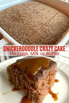 Today I am sharing a fabulous new crazy cake flavor, an old school cookie favorite transformed into cake - Snickerdoodle Crazy Cake! SNICKERDOODLE CRAZY CAKE (No Eggs, Milk or Butter) Crazy Cake, also known as Crazy Cakes, Vegan Desserts, Fun Desserts, Cake Baking, Desserts On A Budget, Desserts With No Eggs, Baking Dessert Recipes, Baking Dishes, Baking Pan