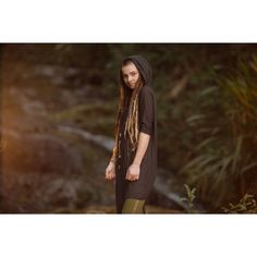 Bamboo Poncho Tunic (Charcoal) Bamboo Fabric Hood Tribal Tunic Comfy... ($79) ❤ liked on Polyvore featuring hoodies, purple, sweatshirts, women's clothing, purple poncho, hooded ponchos, brown poncho, style poncho and short poncho