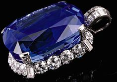 Duchess of Windsor's Sapphire Pendant - This 206.82-carat sapphire pendant flanked by round and baguette diamonds was created by Cartier in 1951.