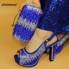 2019 Royal Blue New Arrival Ladies Italian Shoes and Bag Set Decorated with Rhinestone Italian Shoes with Matching Bag for Women Royal Blue Shoes, Fur Heels, Super High Heels, Italian Women, Fab Shoes, Italian Shoes, Spike Heels, Party Shoes, Dress And Heels