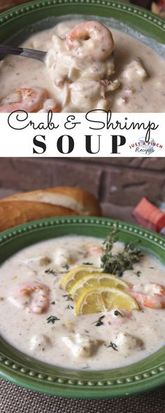 Crab and Shrimp Soup This delicious soup is perfect for cold weather! Yummy, creamy and full of flavor - this soup is quick and easy to put together! Fish Recipes, Seafood Recipes, Soup Recipes, Dinner Recipes, Cooking Recipes, Fancy Recipes, Cajun Cooking, Shrimp Soup, Seafood Soup