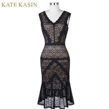 Kate Kasin Black Short Cocktail Dresses Women Lace Party Dress Knee Length Mermaid Style Robe de Cocktail 2017 Prom Dress 1079(China)