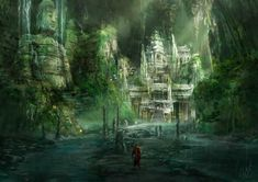 Ancient Cavern City Mattepainting by Ice-wolf-elemental (I see this as the sort of place they'd find Lohengrin. Fantasy Places, Sci Fi Fantasy, Fantasy World, Dark Souls Artorias, Jungle Temple, Sunken City, Cities, Matte Painting, Fantasy Landscape