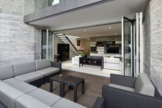 Architecture, Interesting Living Room Design With Gray Sofa And Laminated Wooden Floor With Concrete Interior Wall: Inspiring House Design i. Door Design Interior, Interior Exterior, Modern Interior Design, Interior Architecture, Modern Style Homes, Transitional House, Lounge, Sweet Home, Building Design