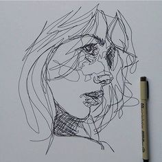 kunst skizzen Scribble Art To Make Your Home And Office Look Awesome Drawing Sketches, Art Drawings, Pen Sketch, Sketching, Portrait Sketches, Contour Drawings, Face Sketch, Portrait Art, Arte Inspo