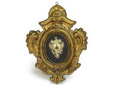 Cuore sacro argento antico italiano Ex-Voto. Antico Cherubino Flaming Heart of Mary pendente nel telaio dell'oro. di LeBonheurDuJour su Etsy https://www.etsy.com/it/listing/385311756/cuore-sacro-argento-antico-italiano-ex