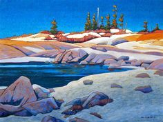 Neige, Rochers et ciel bleu - Nicholas Bott Arctic Landscape, Abstract Landscape, Landscape Paintings, Abstract Art, Oil Paintings, Landscapes, Canadian Painters, Canadian Artists, Van Gogh Art