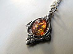 Fire Opal Necklace Art Nouveau Necklace Sterling Silver Necklace 1920s Necklace-Priscilla's Necklace