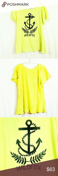 Wildfox Rare Yellow Baby Anchor Tahiti Tunic Tee-M Wildfox Rare Yellow Baby Anchor Tahiti Tunic Tee- Size Medium. A-line, purposefully distressed, super-soft and comfy bright yellow tunic tee. Sold out everywhere! Worn once, never put into a dryer, perfect condition. Wildfox Tops Tees - Short Sleeve