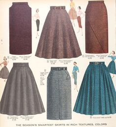 Tweed skirts Sears & Roebuck 1956. These skirts are very trendy now. Especially in the colder weather. Paired with some booties and a blouse-y top. Makes for a great day of work outfit or even a day on the go. Super cute!