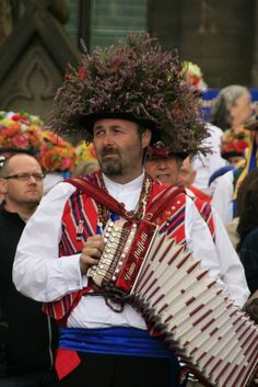 Saddleworth melodeon player, on Rushcart Day 2 24 Aug 14 12