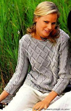 Серый пуловер с плетеным узором. Обсуждение на LiveInternet - Российский Сервис Онлайн-Дневников