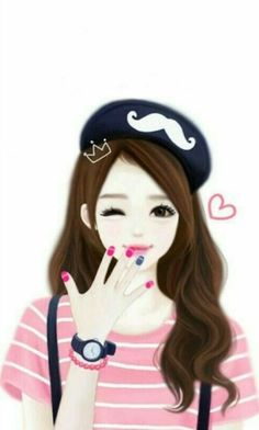 Enakei as a French girl, with a cute mustache hat. Korean Anime, Korean Art, Lovely Girl Image, Girls Image, Girl Cartoon, Cute Cartoon, Cool Girl Drawings, Drawing Faces, Girly M