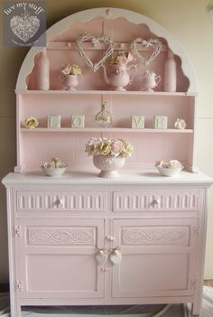 Romantic Shabby Chic Carolyn.. ..pink painted round arch hutch TAKES MY BREATH AWAY