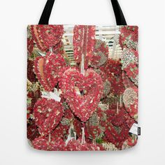 """""""Heart's Full Of flowers"""" Photograph and design by Linda Prewer. Available in 3 sizes from $18.00. Quality crafted Tote Bags are hand sewn in America using durable, yet lightweight, poly poplin fabric. All seams and stress points are double stitched for durability. They are washable, feature original artwork on both sides and a sturdy 1"""" wide cotton webbing strap for comfortably carrying over your shoulder. #tote #bag #heart #red #love #flowers"""
