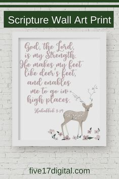 This deer Scripture print of the Bible verse from Habakkuk would be a great addition to your nursery décor. It would also make a great gift for mom or even a graduation gift. Handmade Shop, Etsy Handmade, Handmade Items, Nursery Décor, Nursery Ideas, Bible Verses About Love, Scripture Wall Art, Lord Is My Strength, Great Gifts For Mom