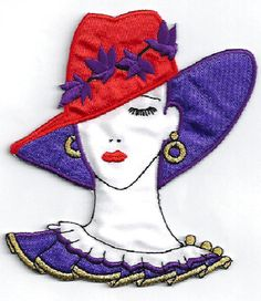 "RED HAT - CHIC FASHION LADY IRON ON APPLIQUE PATCH - STYLE F - 2 5/8""W (6.7cm)"